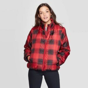Plaid Puffer Jacket - Universal Thread Red & Black
